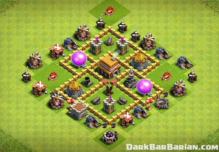 New Best Town Hall 5 Hybrid & Trophy Base (TH5) Defense Layout 2019 – Dark  BarBarian