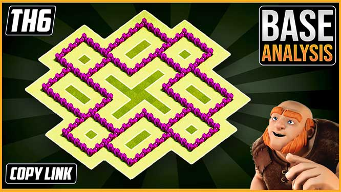 Town Hall 6 (TH6) Hybrid/Trophy Base Layout 2020 coc clash of clans
