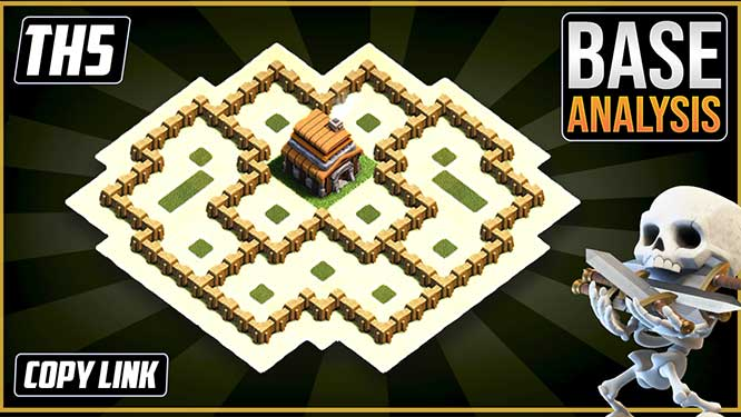 Town Hall 5 (TH5) Hybrid/Trophy Base layout coc