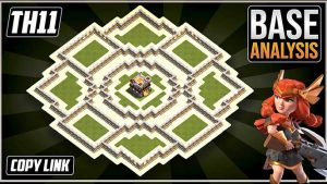 Town Hall 11 (TH11) Hybrid/Trophy base layout coc with copy link