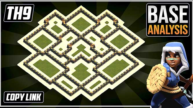 Town Hall 9 (TH9) Hybrid/Trophy Base layout coc